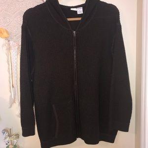 Roaman's Waffle Brown Hooded Zippered Jacket